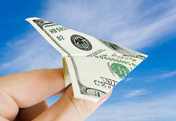 самолетик из 100 долларов