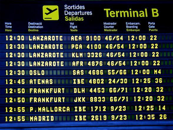 Расписание в аэропрту при регистрации на рейс